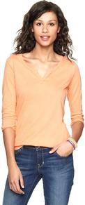 Luxe Jersey Split V T - neckline: v-neck; pattern: plain; predominant colour: nude; occasions: casual; length: standard; style: top; fibres: cotton - mix; fit: body skimming; sleeve length: 3/4 length; sleeve style: standard; pattern type: fabric; texture group: jersey - stretchy/drapey
