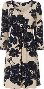 Women's Clara Print Dress, Multi Coloured - style: smock; length: mid thigh; fit: empire; secondary colour: navy; predominant colour: stone; occasions: casual; neckline: scoop; fibres: viscose/rayon - stretch; sleeve length: 3/4 length; sleeve style: standard; pattern type: fabric; pattern size: big & busy; pattern: florals; texture group: jersey - stretchy/drapey