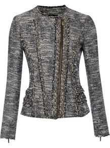 Women's Tweed Motorcycle Jacket With Chain Detail, Navy - style: biker; collar: asymmetric biker; pattern: herringbone/tweed; predominant colour: mid grey; occasions: casual, evening; length: standard; fit: tailored/fitted; fibres: cotton - mix; sleeve length: long sleeve; sleeve style: standard; collar break: high/illusion of break when open; pattern type: fabric; pattern size: standard; texture group: tweed - light/midweight