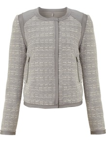 Women's Day Boost Blazer, Grey - collar: round collar/collarless; style: boxy; shoulder detail: contrast pattern/fabric at shoulder; pattern: herringbone/tweed; predominant colour: mid grey; occasions: casual, work; length: standard; fit: straight cut (boxy); fibres: polyester/polyamide - 100%; sleeve length: long sleeve; sleeve style: standard; collar break: high; pattern type: fabric; pattern size: standard; texture group: tweed - light/midweight