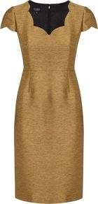 Women&#x27;s Agnes Dress, Gold - style: shift; sleeve style: capped; fit: tailored/fitted; pattern: plain; neckline: sweetheart; predominant colour: gold; occasions: evening, occasion; length: just above the knee; fibres: polyester/polyamide - mix; sleeve length: short sleeve; texture group: structured shiny - satin/tafetta/silk etc.; trends: metallics; pattern type: fabric