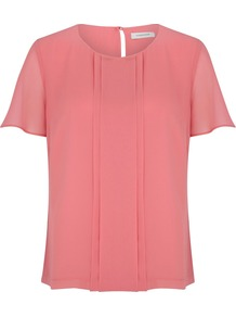 Women&#x27;s Rose Chiffon Blouse, Dark Pink - neckline: round neck; pattern: plain; style: blouse; predominant colour: pink; occasions: casual, evening, work; length: standard; fibres: polyester/polyamide - 100%; fit: straight cut; back detail: keyhole/peephole detail at back; sleeve length: short sleeve; sleeve style: standard; texture group: sheer fabrics/chiffon/organza etc.; bust detail: tiers/frills/bulky drapes/pleats; pattern type: fabric