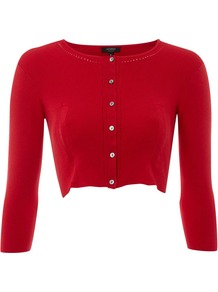 Women's Agnes Cardigan, Ruby - neckline: round neck; pattern: plain; style: bolero/shrug; length: cropped; predominant colour: true red; occasions: casual, evening, work, occasion; fibres: polyester/polyamide - stretch; fit: slim fit; sleeve length: 3/4 length; sleeve style: standard; texture group: knits/crochet; pattern type: knitted - fine stitch