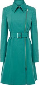 Women's Colourful Posh Cotton Coat, Aqua - pattern: plain; style: trench coat; length: on the knee; predominant colour: turquoise; occasions: casual, evening, work; fit: tailored/fitted; fibres: cotton - 100%; collar: shirt collar/peter pan/zip with opening; waist detail: belted waist/tie at waist/drawstring; sleeve length: long sleeve; sleeve style: standard; collar break: high; pattern type: fabric; pattern size: standard; texture group: other - light to midweight