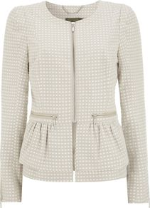 Women's Spot Peplum Jacket, Stone - style: single breasted blazer; collar: round collar/collarless; pattern: polka dot; predominant colour: ivory; secondary colour: ivory; occasions: casual, evening, work; length: standard; fit: tailored/fitted; fibres: polyester/polyamide - mix; waist detail: peplum detail at waist; sleeve length: long sleeve; sleeve style: standard; collar break: high; pattern type: fabric; pattern size: standard; texture group: woven light midweight