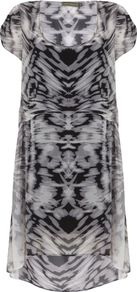 Women's Naomi Print Hook Up Dress, Multi Coloured - style: tunic; fit: loose; predominant colour: charcoal; secondary colour: light grey; occasions: evening, work; length: just above the knee; neckline: scoop; fibres: viscose/rayon - 100%; sleeve length: short sleeve; sleeve style: standard; texture group: sheer fabrics/chiffon/organza etc.; pattern type: fabric; pattern size: big & busy; pattern: patterned/print