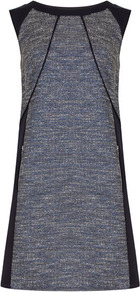 Ink Boucle Panel Shift - style: shift; neckline: round neck; pattern: plain, herringbone/tweed; sleeve style: sleeveless; shoulder detail: contrast pattern/fabric at shoulder; predominant colour: charcoal; occasions: casual, evening, work, occasion; length: just above the knee; fit: soft a-line; fibres: polyester/polyamide - stretch; sleeve length: sleeveless; trends: sporty redux, glamorous day shifts; pattern type: fabric; pattern size: standard; texture group: tweed - light/midweight