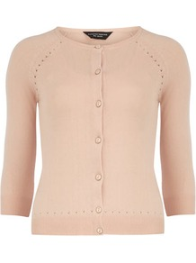 Blush Pointelle Cardigan - neckline: round neck; bust detail: buttons at bust (in middle at breastbone)/zip detail at bust; predominant colour: blush; occasions: casual, work; length: standard; style: standard; fibres: cotton - mix; fit: slim fit; sleeve length: 3/4 length; sleeve style: standard; texture group: knits/crochet; pattern type: knitted - fine stitch