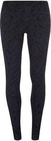 Petite Blue Paisley Jegging - length: standard; style: leggings; waist detail: elasticated waist; pattern: paisley; waist: mid/regular rise; secondary colour: denim; predominant colour: black; occasions: casual, evening; fibres: cotton - mix; hip detail: fitted at hip (bottoms); texture group: jersey - clingy; fit: skinny/tight leg; pattern type: fabric; pattern size: small & busy