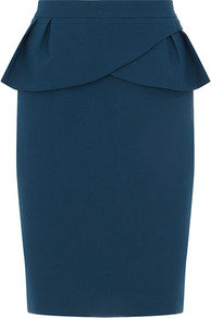 Teal Peplum Skirt - pattern: plain; style: pencil; fit: tailored/fitted; waist detail: fitted waist, peplum waist detail; waist: high rise; hip detail: fitted at hip, ruffles/tiers/tie detail at hip; predominant colour: teal; occasions: evening, work, occasion; length: on the knee; fibres: polyester/polyamide - 100%; texture group: crepes; trends: sculptural frills; pattern type: fabric