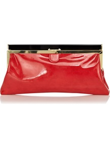 Coral Patent Frame Clutch - predominant colour: true red; occasions: evening, occasion; type of pattern: standard; style: clutch; length: hand carry; size: small; material: faux leather; pattern: plain; finish: patent