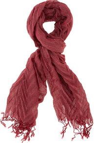 Red Pleated Lurex Scarf - predominant colour: true red; style: regular; size: standard; material: fabric; embellishment: tassels; pattern: metallic, two-tone; trends: embellished/bejewelled/ornate ; finish: metallic