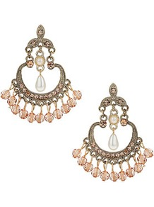 Blush Drop Earrings - predominant colour: blush; occasions: evening, occasion, holiday; style: chandelier; length: mid; size: large/oversized; material: chain/metal; fastening: pierced; trends: metallics; finish: metallic; embellishment: beading, chain/metal, crystals, jewels, pearls