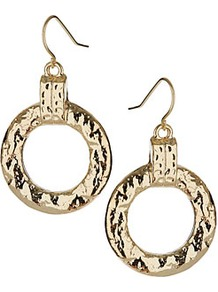 Beaten Drop Earrings - predominant colour: gold; occasions: casual, evening, work, occasion, holiday; style: drop; length: mid; size: standard; material: chain/metal; fastening: pierced; trends: metallics; finish: metallic