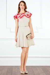 Mycah Dress - sleeve style: capped; pattern: plain; waist detail: belted waist/tie at waist/drawstring; predominant colour: stone; occasions: evening, occasion; length: just above the knee; fit: fitted at waist & bust; style: fit & flare; fibres: polyester/polyamide - 100%; neckline: crew; shoulder detail: added shoulder detail; sleeve length: short sleeve; texture group: silky - light; pattern type: fabric; pattern size: small & light