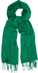 Fringed Stole, Emerald Green - predominant colour: emerald green; occasions: casual, evening, work; style: regular; material: fabric; pattern: plain