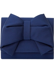 Sherry Clutch Handbag, Royal Blue - predominant colour: navy; occasions: evening, occasion; type of pattern: standard; style: clutch; length: hand carry; size: small; material: satin; pattern: plain; finish: plain; embellishment: bow