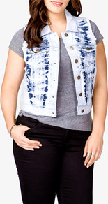 Mineral Wash Denim Vest - sleeve style: sleeveless; style: gilet; length: cropped; pattern: tie dye; fit: slim fit; secondary colour: indigo; predominant colour: pale blue; occasions: casual; fibres: cotton - 100%; collar: shirt collar/peter pan/zip with opening; sleeve length: sleeveless; texture group: denim; collar break: high/illusion of break when open; pattern type: fabric; pattern size: standard