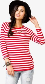 Striped Raglan Sleeve Pullover - sleeve style: extended cuff; pattern: horizontal stripes; style: standard; secondary colour: white; predominant colour: true red; occasions: casual; length: standard; fibres: cotton - 100%; fit: standard fit; neckline: crew; sleeve length: extra long; texture group: knits/crochet; pattern type: knitted - fine stitch; pattern size: standard