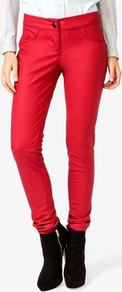 Low Rise Faux Leather Pants - length: standard; pattern: plain; waist: low rise; pocket detail: traditional 5 pocket; predominant colour: true red; occasions: casual, evening; fibres: polyester/polyamide - 100%; texture group: leather; fit: slim leg; pattern type: fabric; style: standard