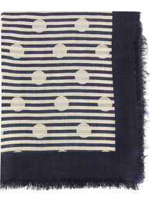 863 Willa Dot Bright Navy Scarf - secondary colour: ivory; predominant colour: navy; occasions: casual; type of pattern: standard; style: square; size: standard; material: fabric; pattern: patterned/print