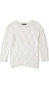 Cable Knit 3/4 Sleeve Jumper - neckline: round neck; pattern: checked/gingham, cable knit; style: standard; predominant colour: ivory; occasions: casual, work; length: standard; fibres: cotton - mix; fit: standard fit; sleeve length: 3/4 length; sleeve style: standard; texture group: knits/crochet; pattern type: knitted - other; pattern size: standard