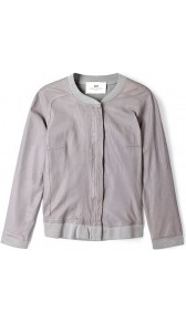 Day Cardi Leather And Jersey Bomber Jacket Day Birger Et - pattern: plain; collar: round collar/collarless; back detail: contrast pattern/fabric at back; style: bomber; predominant colour: taupe; occasions: casual; length: standard; fit: straight cut (boxy); fibres: leather - 100%; sleeve length: 3/4 length; sleeve style: standard; texture group: leather; collar break: high/illusion of break when open; pattern type: fabric