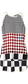 Colmo Woven Check Top - sleeve style: sleeveless; pattern: checked/gingham; secondary colour: white; predominant colour: black; occasions: casual; length: standard; style: top; fibres: viscose/rayon - stretch; fit: body skimming; neckline: crew; sleeve length: sleeveless; texture group: silky - light; trends: modern geometrics; pattern type: fabric; pattern size: small & busy