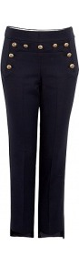 Dieppe Cotton Cropped Trousers - pattern: plain; pocket detail: small back pockets; waist detail: embellishment at waist/feature waistband; waist: mid/regular rise; predominant colour: navy; secondary colour: gold; occasions: casual, evening, work, holiday; length: calf length; fibres: cotton - stretch; hip detail: added detail/embellishment at hip; texture group: cotton feel fabrics; fit: slim leg; pattern type: fabric; style: standard; embellishment: chain/metal
