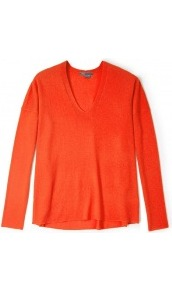 Coral Cashmere V Neck Long Sleeve Jumper - neckline: v-neck; style: standard; predominant colour: coral; occasions: casual, work; length: standard; fibres: wool - 100%; fit: loose; hip detail: dip hem; back detail: longer hem at back than at front; sleeve length: long sleeve; sleeve style: standard; texture group: knits/crochet; trends: fluorescent; pattern type: knitted - other; pattern size: standard