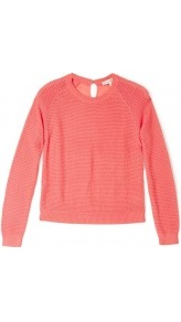 Pink Lazulis Jumper With Silk Back - pattern: plain; style: standard; hip detail: fitted at hip; back detail: contrast pattern/fabric at back, keyhole/peephole detail at back; predominant colour: coral; occasions: casual, work; length: standard; fibres: cotton - 100%; fit: standard fit; neckline: crew; sleeve length: long sleeve; sleeve style: standard; texture group: knits/crochet; trends: fluorescent; pattern type: knitted - other; pattern size: standard