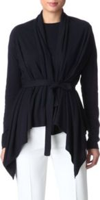 Pineta Cardigan - style: belted; neckline: waterfall neck; bust detail: ruching/gathering/draping/layers/pintuck pleats at bust; predominant colour: navy; occasions: casual, evening, work; length: standard; fibres: silk - mix; fit: loose; hip detail: dip hem, ruching/gathering at hip; waist detail: belted waist/tie at waist/drawstring; sleeve length: long sleeve; sleeve style: standard; texture group: knits/crochet; pattern type: knitted - fine stitch; pattern size: standard
