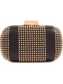 Studded Box Clutch - predominant colour: black; occasions: evening, occasion; type of pattern: small; style: clutch; length: hand carry; size: small; material: leather; embellishment: studs; pattern: plain, patterned/print, vertical stripes; trends: metallics; finish: plain