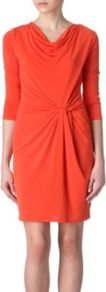 Cowl Twist Dress - style: shift; neckline: cowl/draped neck; pattern: plain; waist detail: twist front waist detail/nipped in at waist on one side/soft pleats/draping/ruching/gathering waist detail; bust detail: ruching/gathering/draping/layers/pintuck pleats at bust; predominant colour: bright orange; occasions: casual, evening, work, occasion; length: just above the knee; fit: body skimming; fibres: polyester/polyamide - stretch; hip detail: soft pleats at hip/draping at hip/flared at hip; sleeve length: 3/4 length; sleeve style: standard; trends: glamorous day shifts; pattern type: fabric; pattern size: standard; texture group: jersey - stretchy/drapey