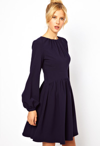 Skater Dress With Blouson Sleeve - length: mid thigh; fit: fitted at waist; pattern: plain; sleeve style: balloon; predominant colour: navy; occasions: casual, evening; style: fit & flare; fibres: polyester/polyamide - stretch; neckline: crew; sleeve length: long sleeve; texture group: crepes; pattern type: fabric