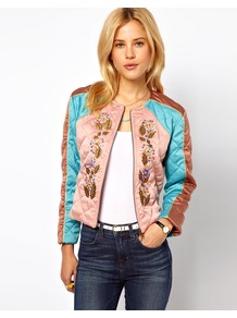 Jacket With Embroidery - pattern: plain; collar: round collar/collarless; style: boxy; occasions: casual, evening; length: standard; fit: straight cut (boxy); fibres: polyester/polyamide - 100%; bust detail: contrast pattern/fabric/detail at bust; predominant colour: multicoloured; sleeve length: long sleeve; sleeve style: standard; texture group: structured shiny - satin/tafetta/silk etc.; collar break: high; pattern type: fabric; pattern size: small & light; embellishment: embroidered