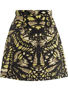 Butterfly Print Skirt - length: mid thigh; fit: tailored/fitted; waist: mid/regular rise; predominant colour: black; occasions: casual, evening, occasion; style: a-line; fibres: polyester/polyamide - 100%; pattern type: fabric; pattern size: standard; pattern: patterned/print; texture group: other - light to midweight