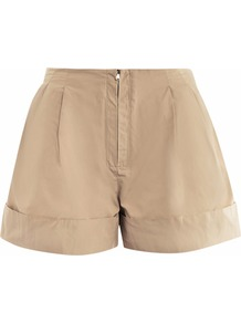 Lightweight Shorts - pattern: plain; style: shorts; waist detail: elasticated waist; pocket detail: pockets at the sides; length: short shorts; waist: mid/regular rise; predominant colour: stone; occasions: casual, work, holiday; fibres: polyester/polyamide - mix; hip detail: front pleats at hip level; jeans & bottoms detail: turn ups; fit: straight leg; pattern type: fabric; pattern size: standard; texture group: other - light to midweight