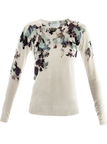 Floral Printed Sweater - style: standard; shoulder detail: contrast pattern/fabric at shoulder; predominant colour: ivory; occasions: casual; length: standard; fibres: wool - 100%; fit: standard fit; neckline: crew; bust detail: contrast pattern/fabric/detail at bust; sleeve length: long sleeve; sleeve style: standard; trends: high impact florals; pattern type: knitted - fine stitch; pattern size: standard; pattern: florals; texture group: jersey - stretchy/drapey