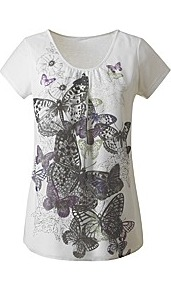 Print Jersey Top - neckline: round neck; style: t-shirt; predominant colour: ivory; secondary colour: black; occasions: casual; length: standard; fibres: polyester/polyamide - stretch; fit: body skimming; sleeve length: short sleeve; sleeve style: standard; pattern type: fabric; pattern: patterned/print; texture group: jersey - stretchy/drapey