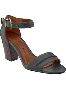 Peyton High Heel Sandal - predominant colour: black; occasions: casual, work, holiday; material: leather; heel height: mid; ankle detail: ankle strap; heel: block; toe: open toe/peeptoe; style: standard; finish: plain; pattern: plain