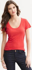 Shadow Stripe Tee - style: t-shirt; pattern: pinstripe; predominant colour: true red; occasions: casual, holiday; length: standard; neckline: scoop; fibres: linen - mix; fit: body skimming; sleeve length: short sleeve; sleeve style: standard; texture group: cotton feel fabrics; pattern type: fabric; pattern size: standard