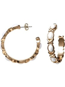Anchors Hoop Earring - secondary colour: white; predominant colour: gold; occasions: evening, work, occasion; style: hoop; length: mid; size: large/oversized; material: chain/metal; fastening: pierced; trends: metallics; finish: metallic; embellishment: chain/metal