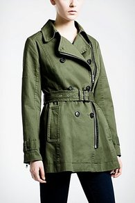 Zippered Trench Coat - pattern: plain; length: below the bottom; style: trench coat; collar: standard lapel/rever collar; predominant colour: dark green; occasions: casual, work; fit: tailored/fitted; fibres: cotton - 100%; waist detail: belted waist/tie at waist/drawstring; sleeve length: long sleeve; sleeve style: standard; collar break: medium; pattern type: fabric; pattern size: standard; texture group: woven light midweight