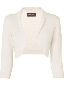 Women's Shawl Collar Bolero, Ivory - pattern: plain; neckline: shawl; style: bolero/shrug; length: cropped; predominant colour: ivory; occasions: casual, evening; fit: slim fit; sleeve length: 3/4 length; sleeve style: standard; pattern type: fabric; texture group: jersey - stretchy/drapey; fibres: viscose/rayon - mix