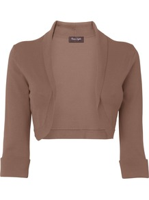 Women&#x27;s Shawl Collar Bolero, Neutral - pattern: plain; neckline: shawl; style: bolero/shrug; length: cropped; predominant colour: chocolate brown; occasions: casual, evening; fit: slim fit; sleeve length: 3/4 length; sleeve style: standard; pattern type: fabric; texture group: jersey - stretchy/drapey; fibres: viscose/rayon - mix