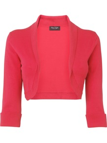 Women&#x27;s Shawl Collar Bolero, Raspberry - pattern: plain; style: bolero/shrug; collar: shawl/waterfall; length: cropped; fit: slim fit; predominant colour: hot pink; occasions: casual, evening, occasion, holiday; sleeve length: 3/4 length; sleeve style: standard; collar break: low/open; pattern type: fabric; texture group: other - light to midweight; fibres: viscose/rayon - mix