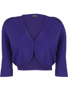 Women's Knitted Shrug, Violet - neckline: v-neck; pattern: plain; style: bolero/shrug; length: cropped; bust detail: buttons at bust (in middle at breastbone)/zip detail at bust; predominant colour: royal blue; occasions: casual, work, occasion; fit: slim fit; sleeve length: half sleeve; sleeve style: standard; texture group: knits/crochet; pattern type: knitted - fine stitch; fibres: viscose/rayon - mix
