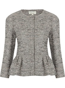Women&#x27;s Tweed Jacket, Multi Coloured - pattern: plain; style: single breasted blazer; collar: round collar/collarless; predominant colour: mid grey; occasions: casual, evening, work, occasion; length: standard; fit: tailored/fitted; fibres: cotton - mix; waist detail: peplum detail at waist; sleeve length: 3/4 length; sleeve style: standard; collar break: high; pattern type: fabric; texture group: tweed - light/midweight