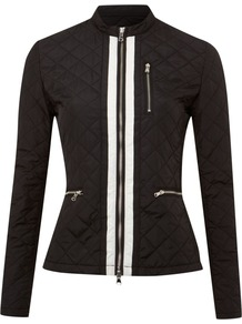 Women's Long Sleeved Lightweight Padded Jacket, Black - pattern: plain; length: standard; style: quilted; collar: high neck; fit: slim fit; predominant colour: black; occasions: casual; fibres: polyester/polyamide - 100%; sleeve length: long sleeve; sleeve style: standard; texture group: technical outdoor fabrics; collar break: high; pattern type: fabric
